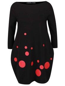 Červeno-čierne šaty s lodičkovým výstrihom Mikela da Luka
