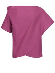 Bluza roz fandango Bianca Popp cu croi suprapus si asimetric
