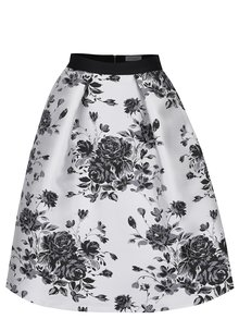 Černo-krémová květovaná sukně Closet