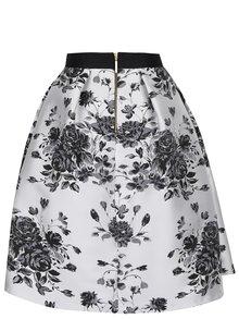 Fustă midi crem&negru Closet cu imprimeu floral