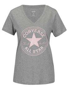 Sivé dámske tričko s ružovou potlačou Converse