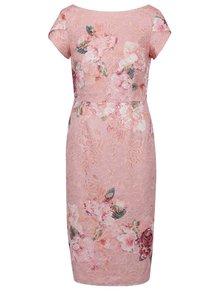 Růžové květované krajkové šaty Little Mistress