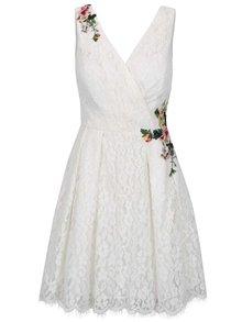 Krémové krajkové šaty s květovanými nášivkami Little Mistress