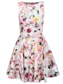 Krémovo-ružové kvetované šaty s opaskom Closet
