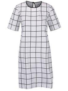 Rochie albă THAIS & STROE cu model în pătrățele negre