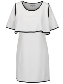 Rochie alb fildeș THAIS & STROE cu suprapunere și garnituri negre