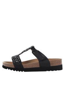 Papuci negri Scholl Astrelle cu model