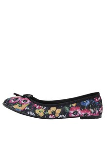 Čierne kvetované baleríny do kabelky Scholl Pb Flower