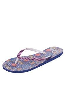Papuci flip-flop albastru & portocaliu Roxy Portofino cu model geometric și în dungi