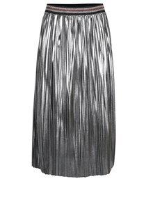 Plisovaná midi sukně ve stříbrné barvě VILA Shaky