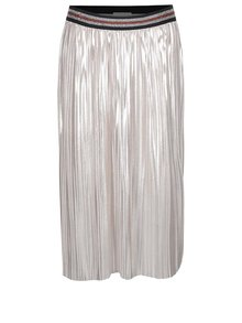 Svetloružová metalická plisovaná midi sukňa VILA Shaky