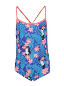 Modré dievčenské jednodielne plavky s tropickou potlačou Roxy Little Tro