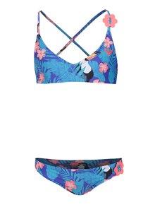 Modré dievčenské dvojdielne plavky s tropickou potlačou Roxy Little Tro
