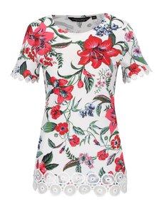 Krémové květované tričko s krajkovými detaily Dorothy Perkins