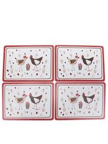 Súprava štyroch prestieraní v červeno-krémovej farbe s motívom sliepok Cooksmart