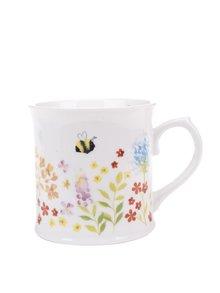 Krémový porcelánový hrnek s motivem květin Cooksmart