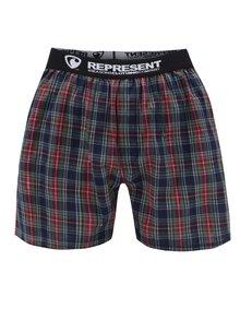 Boxeri verzi&roșii Represent Mikebox cu model în carouri și bandă elastică