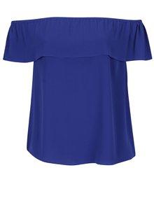 Modrá voľná blúzka s odhalenými ramenami Dorothy Perkins Curve