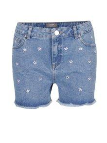 Modré džínové kraťasy s výšivkami Dorothy Perkins