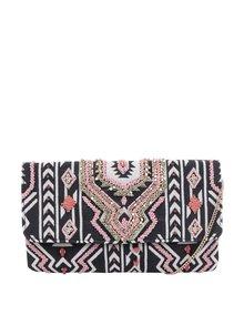 Růžovo-černá vzorovaná crossbody kabelka/psaníčko Pieces Kalani