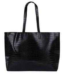 Čierny lesklý obojstranný shopper s hadím vzorom Pieces Elana
