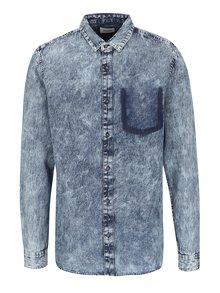 Modrá melírovaná rifľová košeľa ONLY & SONS Denim