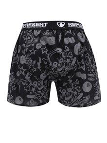 Boxeri negru&gri cu print rock Represent Exclusive Mike Rock n Roll