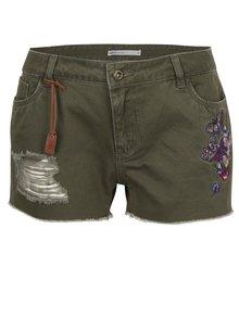 Khaki džínové kraťasy s výšivkou a potrhaným efektem ONLY Brea