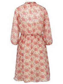 Béžovo-červené kvetinové šaty s viazankou Pretty Girl