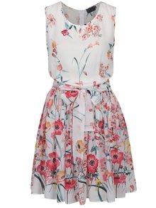 Krémové kvetinové šaty bez rukávov Pretty Girl