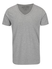 Šedé žíhané triko s véčkovým výstřihem Jack & Jones Basic