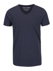 Tmavě modré triko s véčkovým výstřihem Jack & Jones Basic