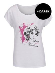 Bílé tričko s potiskem Batiste Blush + DÁREK: suchý šampon