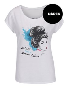 Bílé tričko s potiskem Batiste Cherry + DÁREK: suchý šampon