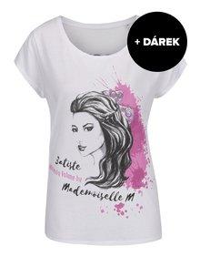 Bílé tričko s potiskem Batiste Volume + DÁREK: suchý šampon