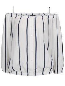 Bluză alb&albastru Broadway Floris cu decolteu pe umeri