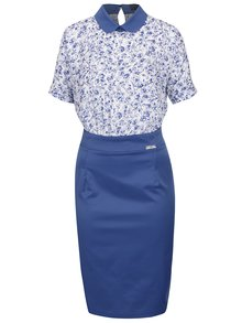 Bielo-modré šaty s golierom Pretty Girl
