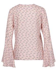 Růžová vzorovaná halenka se zvonovými rukávy Pretty Girl