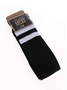 Sosete unisex negre cu dungi albe American Socks