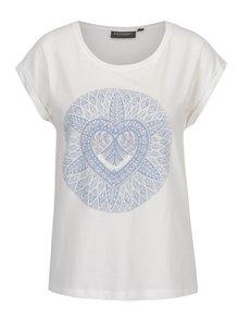 Krémové dámské tričko s potiskem Broadway Fern
