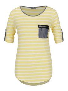 Bluză crem&galben ZOOT cu model în dungi și mâneci ajustabile