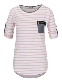 Krémovo-růžové pruhované tričko s kapsou ZOOT