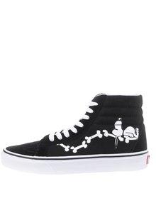 Černé unisex kotníkové tenisky s motivem Snoopyho VANS UA SK8
