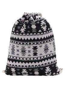 Rucsac negru&crem Haily's Bag cu imprimeu