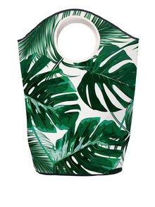 Krémovo-zelený koš na prádlo s motivem listů Butter Kings