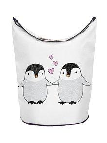 Krémový kôš na bielizeň s motívom tučniakov Butter Kings