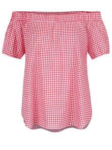 Krémovo-červený top s odhalenými ramenami Haily's Checky