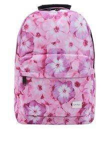Růžový dámský květovaný batoh Spiral 18 l