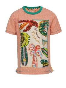 Tricou portocaliu melanj 5.10.15 cu imprimeu pentru băieți