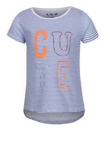 Tricou alb&albastru 5.10.15 cu model în dungi pentru fete